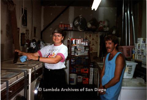 P151.015m.r.t Christine Kehoe (left) pouring laundry detergent