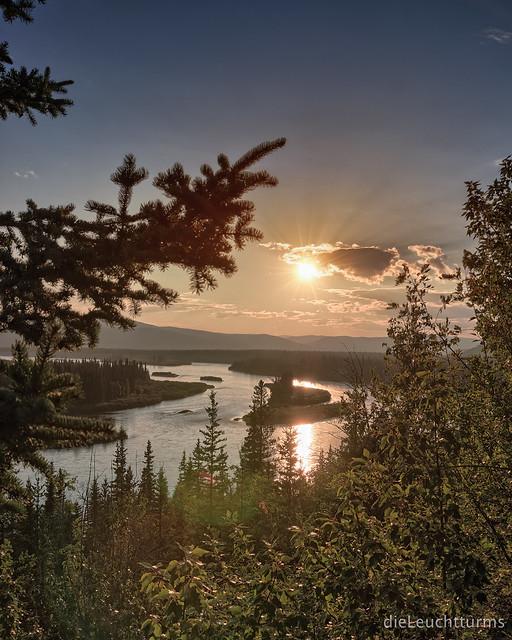 Sunset above Yukon river