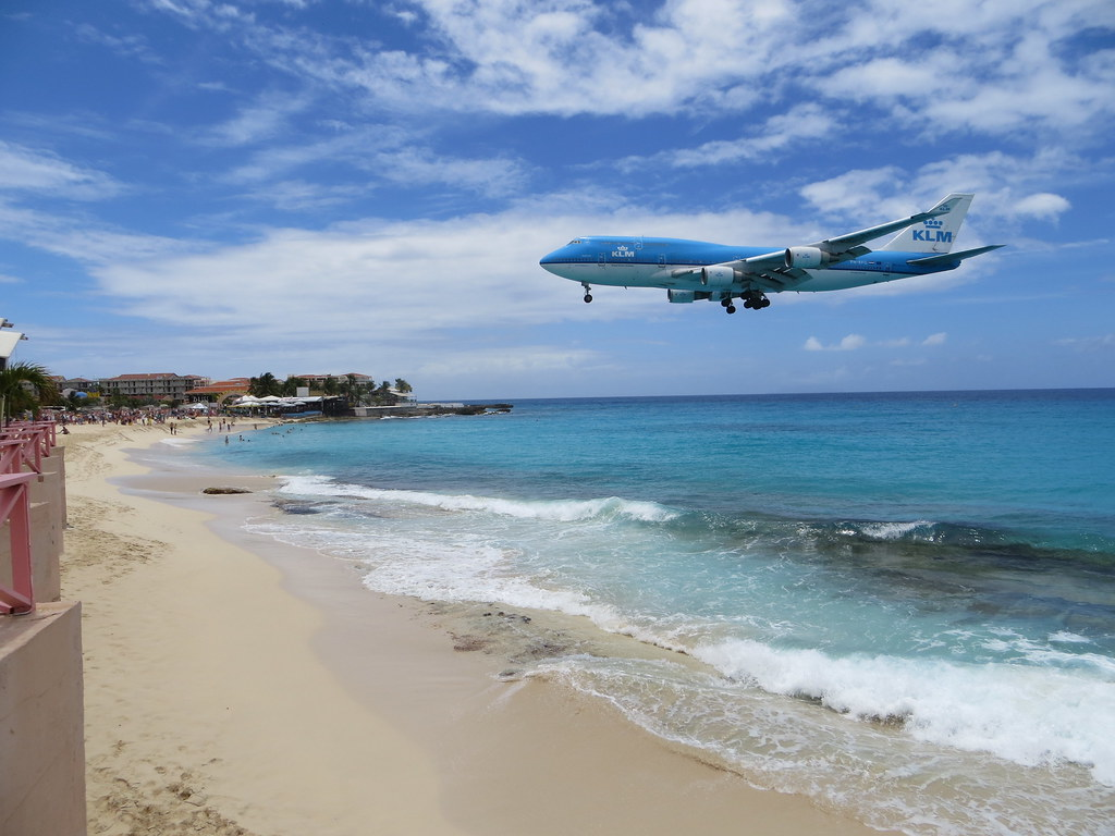 KLM landing, taken from La Plage, Maho, April 2013