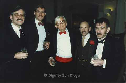 P103.100m.r.t Dignity LA- Five men in tuxedos, Morris Kight in middle