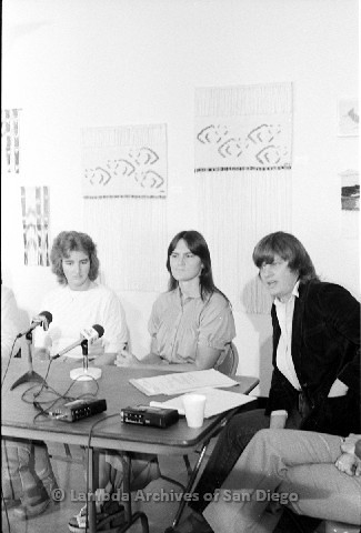 P123.043m.r.t Dixon Press Conference 1982:  (Left to Right) Chris Russell, Eileen Bingle, and Susan McGreivy (ACLU) sitting in front of microphones