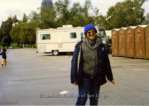 P024.538m.r.t  Robin McBride smiling by portable bathrooms