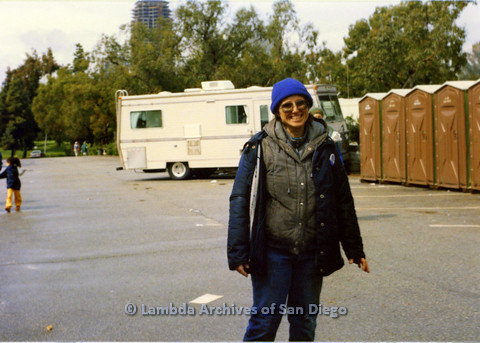 P024.538m.r.t  Robin McBride smiling by portable bathrooms