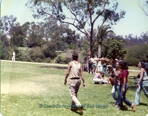 P109.005m.r.t San Diego Pride Festival 1976: Gathering in Balboa Park.