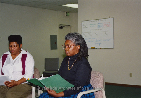 "P125.009m.r.t Phyllis Jackson (left) and Wendy Sky (right) women rehearsing for ""The Gathering"""