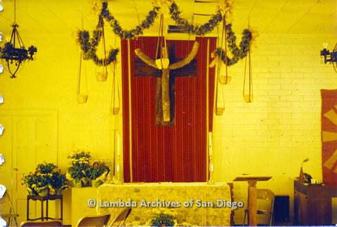 P110.031m.r.t Metropolitan Community Church: Church interior with central shot of crucifix.
