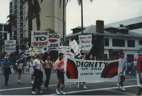 P104.147m.r.t San Diego Pride March 1991: Dignity San Diego marchers near Balboa park.