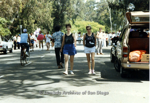 P024.497m.r.t 1990 San Diego Pride: (Left to right) Marghi Kilmer and Karen Blecher in their black tank tops