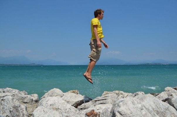 Bursting through the surface of Lake Garda