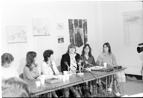 P123.013m.r.t Dixon Press Conference 1982:  (Left to Right) Chris Russell, Kathy Gilberd (MLTF, NLG), Diane Cooper (NOW/SD), Susan McGreivy (ACLU), Kim McAlister (CWSS), Eileen Bingle looking at Susan while she speaks