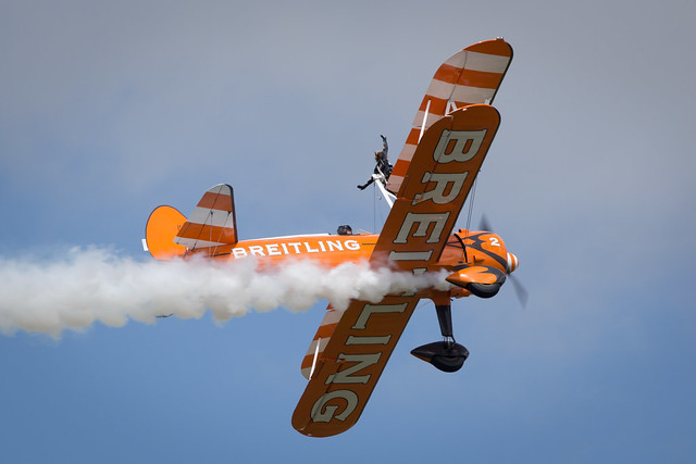 Fairford, Gloucestershire, UK - July 10th, 2016: AeroSuperBatics Breitling Stearman Wing Walking Formation Display Team perform at Royal International Air Tattoo