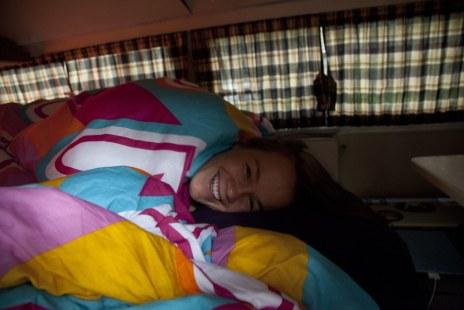 Diana sleeping in the bus