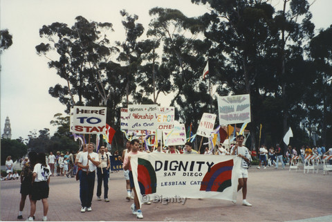 P104.146m.r.t San Diego Pride March 1991: Dignity San Diego marchers near Balboa park.