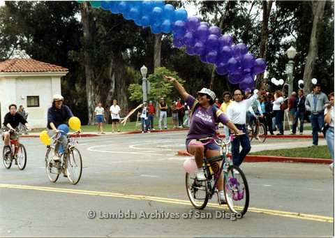 P024.405m.r.t 1990 San Diego Pride: Balboa Park, People Riding on bicycles