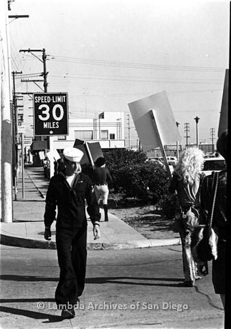 P180.001.02m.r.t Sailor walking past picketing