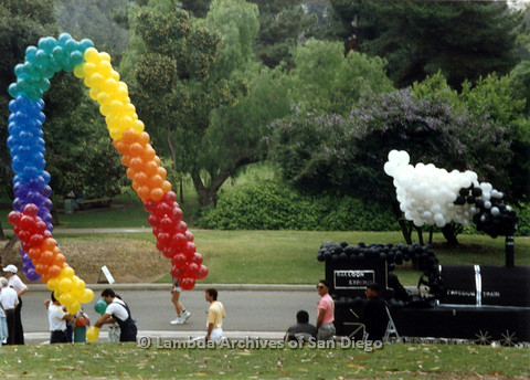 P024.408m.r.t 1990 San Diego Pride Parade: Train float with ballons