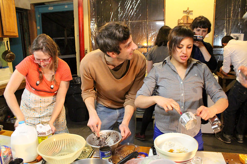"Photo courtesy: Mille Højerslev Nielsen  Flux Factory celebrates the closing of our group show, anything ANYTHING, with a live competition of Iron Chef Flux. Our most talented Flux chefs competed head to head in an intense culinary battle as we turn up the heat in the kitchen!  Featuring the extraordinary culinary talents of Stephanie ""You're out of your element"" Avery, Nick ""I'll have my cake and eat yours too"" Cregor, Aliya ""Beyond Consumption"" Bonar, Theodoros ""The After Burner"" Zafeiropoulos, and Georgia ""This takes the cake"" Muenster.  Celebrity judges Paddy Johnson, Steven Stern, Harriet Taub, Tracy Candido, and David Shapiro crowned Aliya ""Beyond Consumption"" Bonar as the winner of Iron Chef Flux."