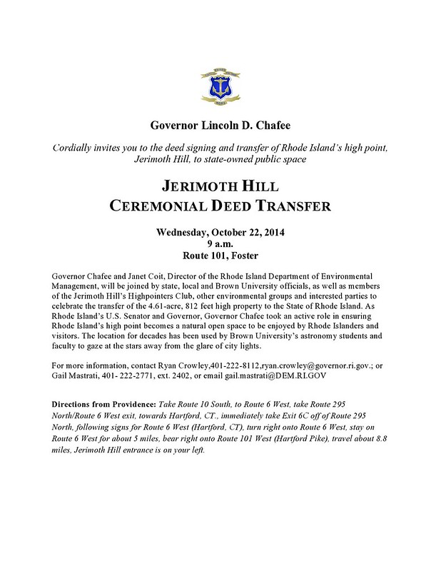 Invitation to Dedication of Jerimoth Hill