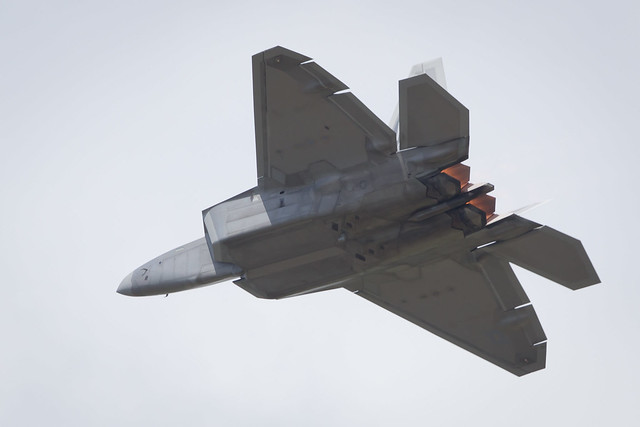Fairford, Gloucestershire, UK - July 10th, 2016: Lockheed Martin F-22 Raptor performing at Fairford International Air Tattoo