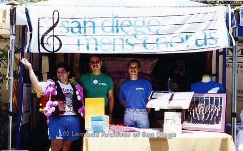 1995 - San Diego LGBT Pride Festival: San Diego Men's Chorus Booth.