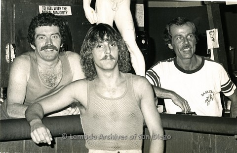 1979 - Bartenders at the Nickelodeon Gay Men's Bar on Fairmont Ave. Photo appeared with a promo article in the 'SD Son' gay newspaper.