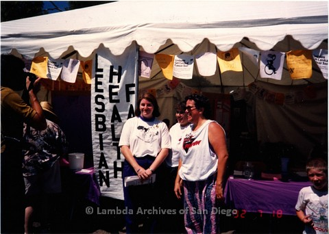 1992 - San Diego LGBT Pride Festival, Lesbian Health  Faire booth. Co-coordinated by Renee Rickets (right) - coordinator of the Lesbian Health Project, Toni Atkins (left) - Clinic Administrator of Womancare Feminist Health Care Clinic and Daisy Barquester