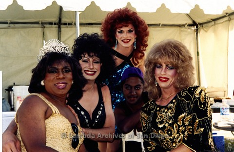 1995 - San Diego LGBT Pride Festival: Entertainment Stage Area, Back Stage With Members of Imperial Court de San Diego.