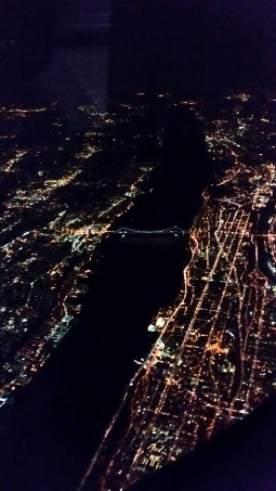 George Washington Bridge, from the air, at night