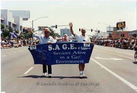 1994 - San Diego LGBT Pride Parade: Contingent - San Diego Chapter of 'S.A.G.E.' (Seniors Active in a Gay Environment).