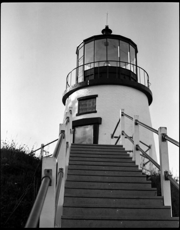 Owl's Head Lighthouse, stiars, railings, Owl'svHead, Maine, Koni Omega Rapid 100, Super Omegon 90mm f-3.5, Arista.Edu 200, Kodak Ilford Ilfosol 3 developer, 7.18.18