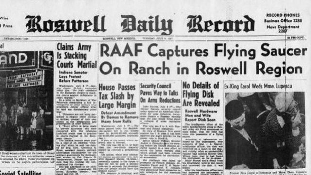 Imagen 1. Portada del Roswell Daily Record el 8 de julio de 1947.