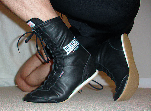 Lonsdale black leather boxing boots