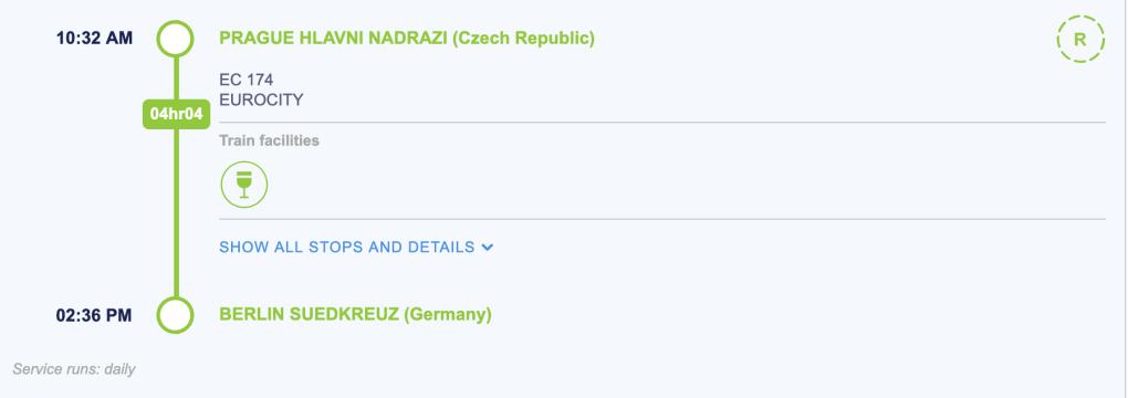 Train Journey 5: Prague (Czech Republic) to Berlin (Germany)