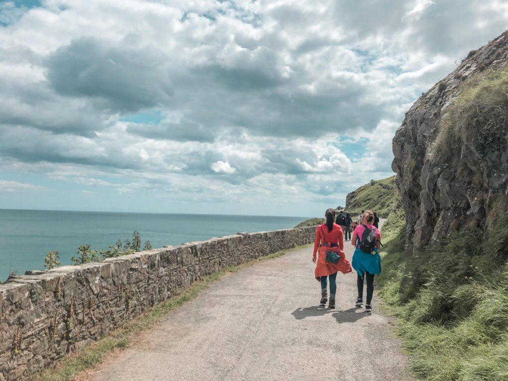 Walking towards Greystones on the Bray to Greystones Walk, Wicklow, Ireland
