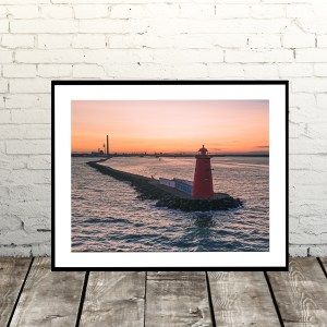 Sunset at Poolbeg Lighthouse, Dublin, Ireland Print