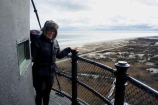Sarah with the beach beyond