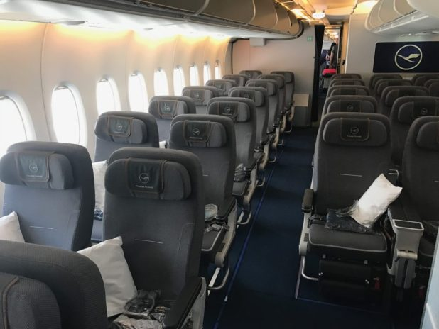 Power Is Available In Each Seat And The Setback Ife Screen Has A Usb Port For Mobile Phone Charging Lufthansa A380 Premium Economy Review
