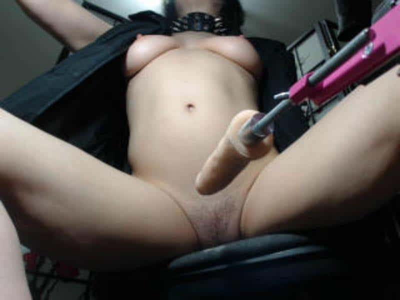 sexual submissive female, fucking machine on cam