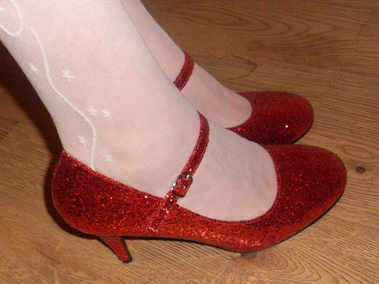sissy girl red shoes