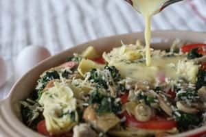 ! Layers of bread and vegetables baked with a creamy sauce. Real food naturally. www.LiveBest.info