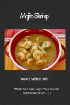Mojito Shrimp | Sure, you can drink all those yummy ingredients, but try them on shrimp for a quick, healthy dinner. Yum! A healthy recipe, naturally! www.LiveBest.info