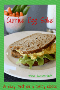 Curry Egg Salad Recipe   Plain Greek yogurt'stangy flavor, protein and calcium make this a healthy winner, while lowering the calories! That's what I look for in a recipe that helps me LiveBest! www.LiveBest.info