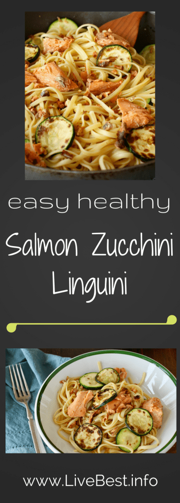 Salmon Zucchini Linguini | I love this recipe because it's ready in less than 30 minutes and it super nutritious and healthy! Canned salmon provides all the health benefits as fresh fish plusis easy to keep on hand for a last-minute meal. You can substitute another vegetable for the zucchini. Tomatoes, perhaps? www.LiveBest.info