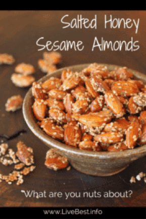 Salted Honey Sesame Almonds Recipe | Sweet and salty, this is an easy recipe for snack or appetizers. I also like them on yogurt or overnight oats. www.LiveBest.info