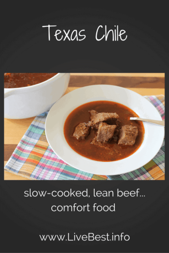 Texas Chile | I love this recipe with lean, tender beef. Flavors improve overnight, making this a great dish for entertaining. That's probably why I get asked for the recipe every time I serve it! Real food naturally. www.LiveBest.info