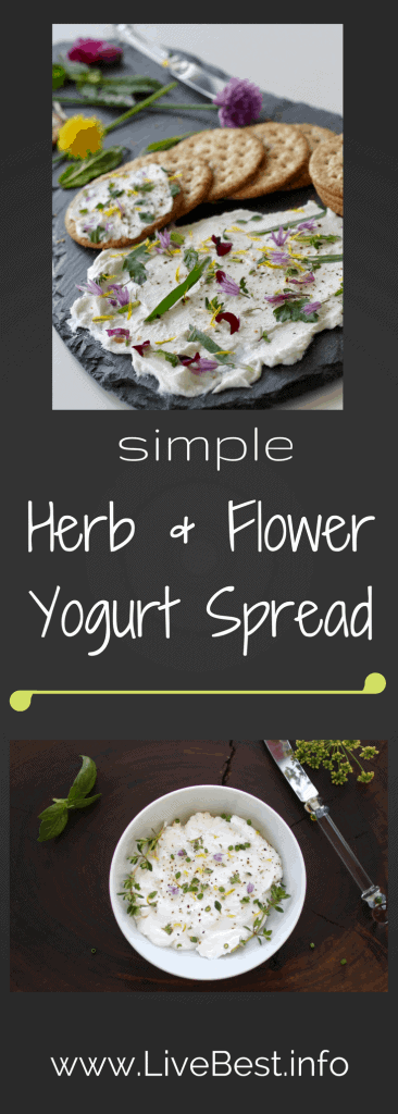 Herb and Flower Yogurt Spread| One of the prettiest dip recipes. Ever! Quick, easy and a better-for-you appetizer than most. www.LiveBest.info