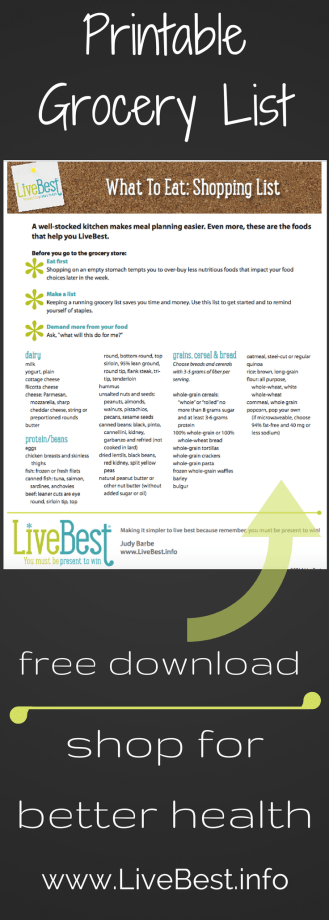 LiveBest Grocery List image. These are the foods I buy, cook and eat to live with vitality. Find this free grocery list on my Products page at www.LiveBest
