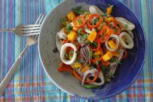 bowl of Grilled Squid Mango Salad