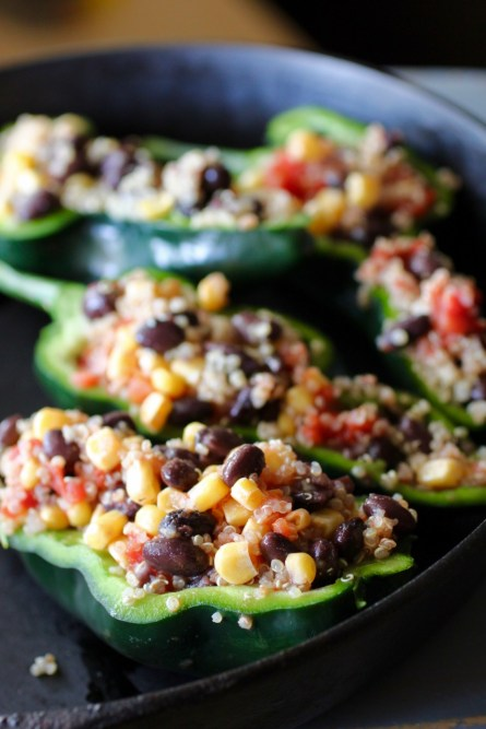 Quinoa Black Bean Stuffed Poblano peppers are filled with the protein power of quinoa and black beans. Tomato and corn boost the vegetable count. www.LiveBest.info