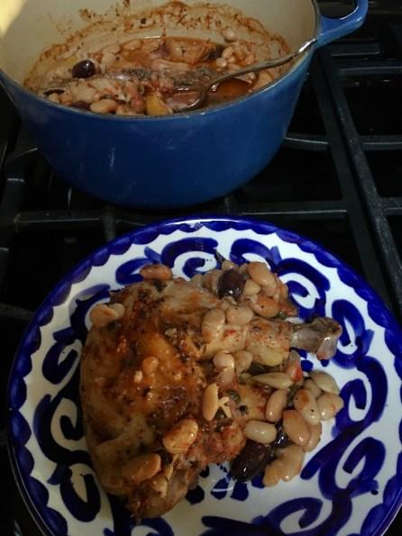 plate of baked greek chicken stew